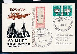97385) Rda, 60 Ans Du Trafic Aérien à Partir De Erfurt So-carte Reco 11.5.85, Auchinleck-afficher Le Titre D'origine