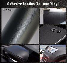 2xA4 Negro Cuero Textura Adhesivo Vinilo Envolvente Pegatina de película para los coches de muebles
