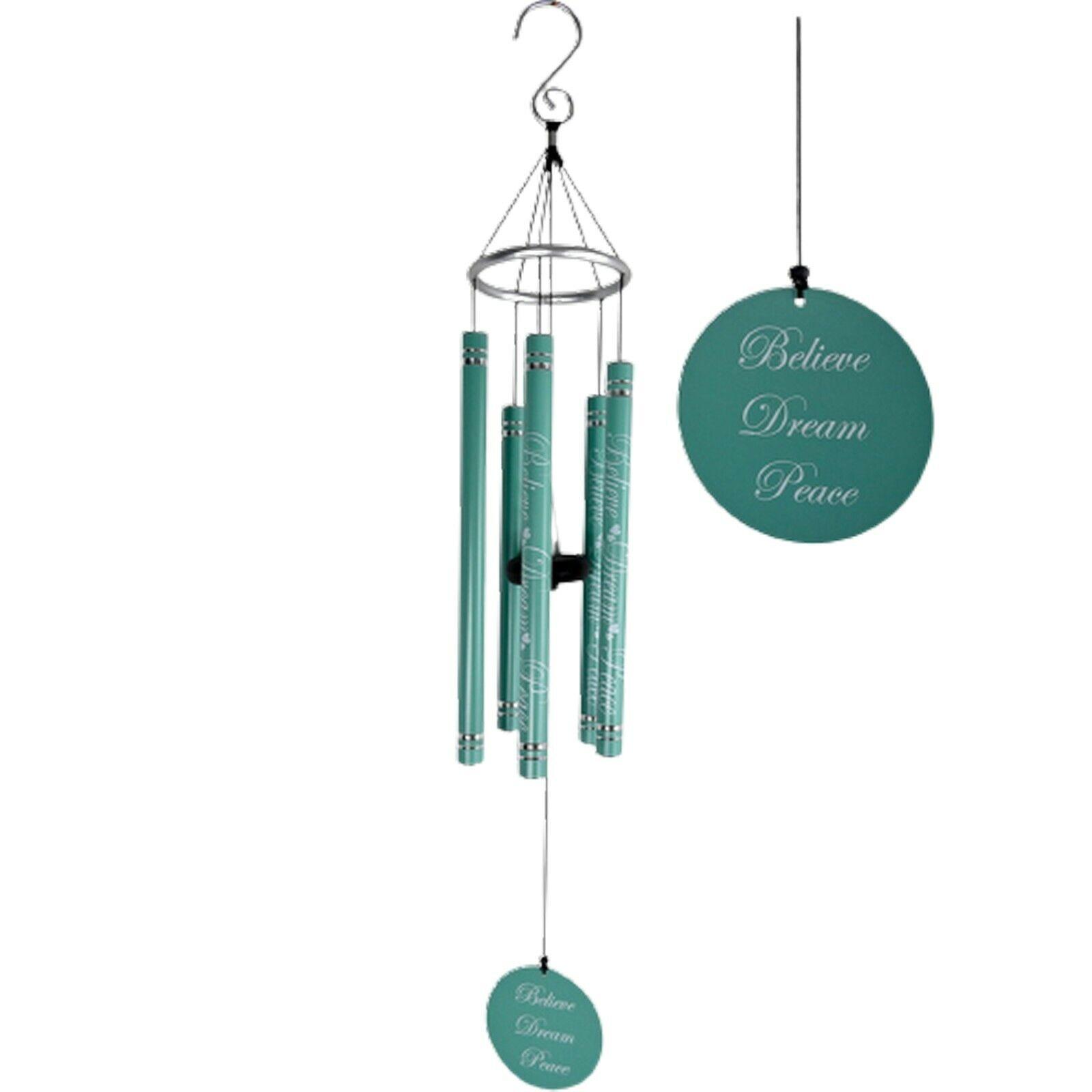 91cm Inspirational Harmonious Wind Chime Believe Dream Peace Blue Silver 5 Tube