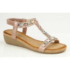 0bbfb7aa6ee6 Cipriata LIA Ladies Womens Comfy Ankle Strap T Bar Wedge Heel Open Toe  Sandals