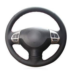 For-Outlander-ASX-Car-Hand-stitch-Steering-Wheel-Cover-Black-Artificial-Leather