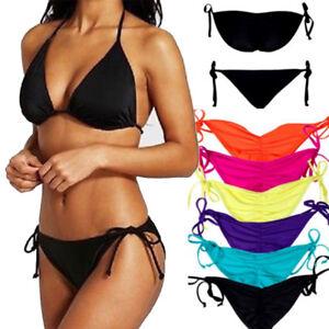 ca15fd0352eea Sexy Women Triangle Bikini Set Push Up Padded Top Side-Tie Bottom ...