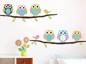 Vogel-Eule-Natur-Kinder-Wandsticker-Wandtattoo-Aufkleber-Wohnzimmer-Sticker