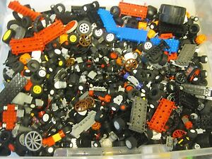 LEGO-Bulk-lot-WHEELS-1-2-lb-pound-Tires-Axles-Car-Vehicle-Lots-of-Parts