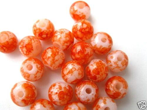 20 Glasperlen rund 8mm orange marmoriert Perlen 4746