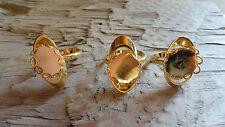 Oval Orb Ring hamilton Gold Plated Adjustable 12mm Lacy Bezel (Pkg 3) 0261