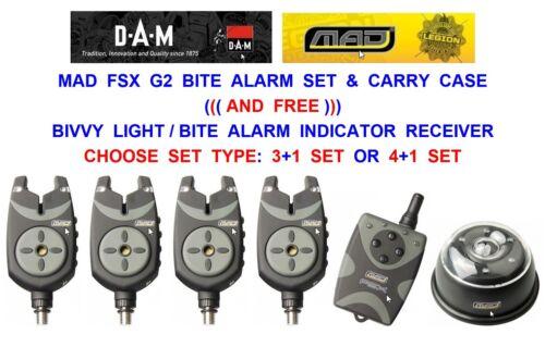 DAM MAD FSX G2 BITE ALARM SET+FREE BIVVY LIGHT CARP 3 OR 4 ROD POD INDICATOR KIT