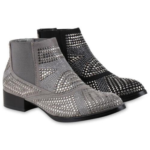 Damen Strass Chelsea Boots Nieten Stiefeletten Leder-Optik 811956 Schuhe