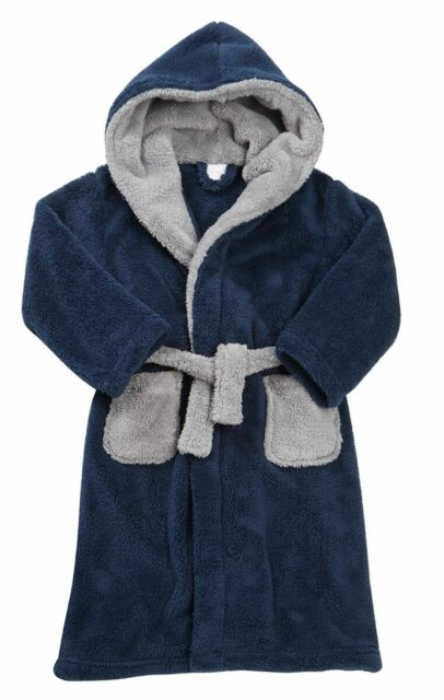 Boys 2 Tone Hooded Dressing Gown Thick Cosy Teenager Hood Xmas ... 7a84d63c8