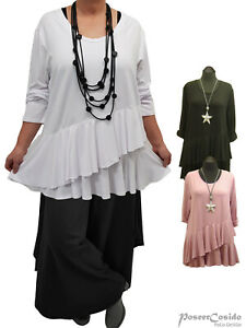 LAGENLOOK Ballon Tunika Long-Shirt Kleid 44 46 48 50 52 54 56 58 L-XL-XXL-XXXL