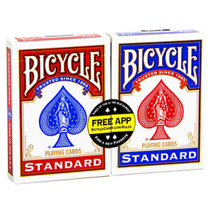 2-Decks-Bicycle-STANDARD-index-playing-cards-Poker-Magic-tricks-USPCC-Red-amp-Blue