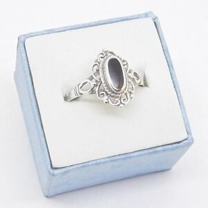 Black Onyx Filigree .925 Sterling Silver Ring