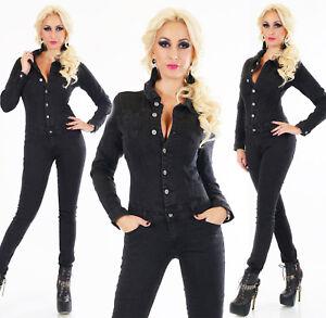 factory authentic 06972 480b9 Dettagli su Tuta jeans nera donna elasticizzata aderente overall skinny  manica lunga nuova