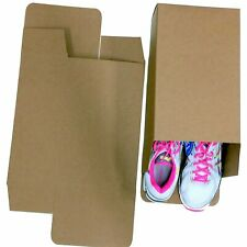 25 Large Shoe Box Reverse Tuck Cartons 13x8x5 Kraft Brown Folding Chipboard
