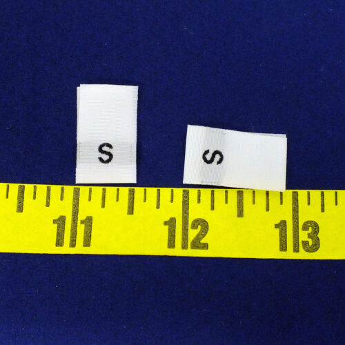 """Free Shipping from US White 100 WOVEN SEWING ALPHABETIC SIZE LABELS /""""S/"""""""