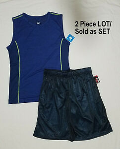 Mens Mesh Basketball Shorts and Shirt 2pc Set Workout Gym Pockets Lined Shorts