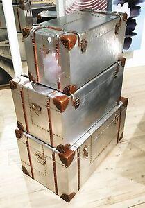 TOP-VINTAGE-SET-3-STK-NEU-REISEKOFFER-RETRO-BOX-ALU-ALUMINIUM-NIETEN-KOFFERSET