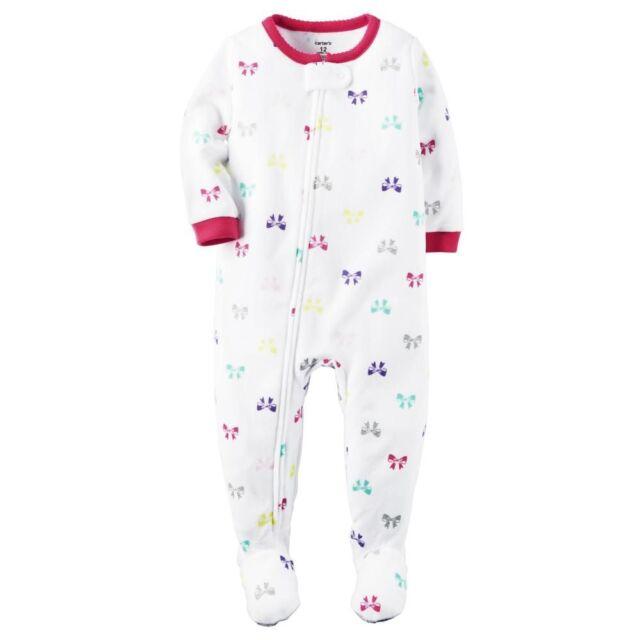 Carter s Blanket Sleeper Girl 24 Months Full Zip Footed White Fleece ... 9ef03952a