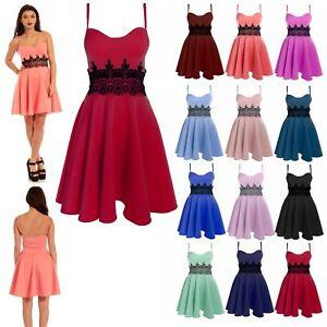 Plus Size New Womens Mini Dress Ladies Waist Lace Flared Franki Skater Dresses