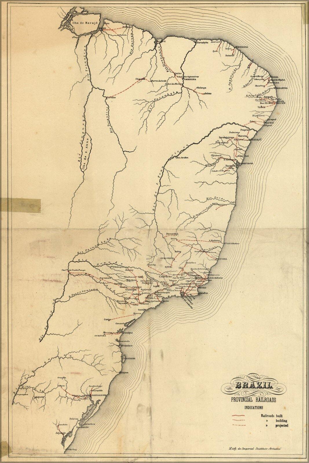 Poster, Many Größes; Railroad Map Of Brazil 1902