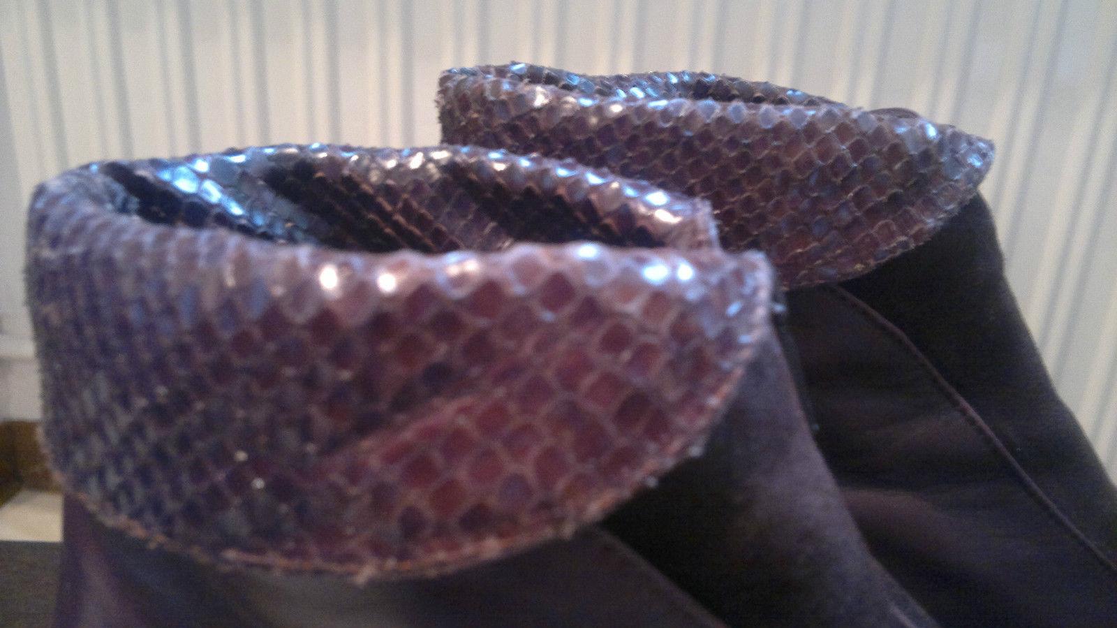 Schöne MARIPE Stiefeletten echtes Größe 40 / 7 echtes Stiefeletten Leder dunkelbraun Kroko TOP 9c2060