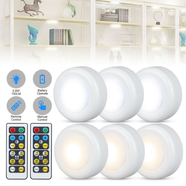3// 6X Wireless LED Puck Lights Closet Under Cabinet Lighting With Remote Control