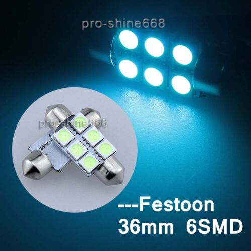 2pcs 36mm 6-SMD 6418 6423 6451 6413 License Plate Lights Ice Blue fit Ford