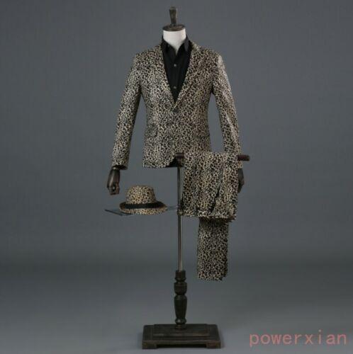 New Men Leopard Formal Dress Blazer 2PCS  Suits Trouser Jacket Pants One Button