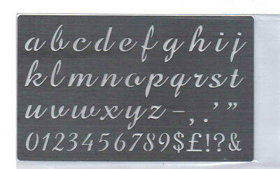 Stainless//Steel//stencil//Oblong//Lower Case//Alphabet//Emboss//Small //METAL