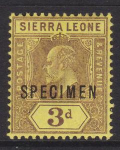 "SIERRA LEONE - 1907/12 EVII WMK.MCA 3d ""SPECIMEN"" MINT SG.104s (REF.D19)"