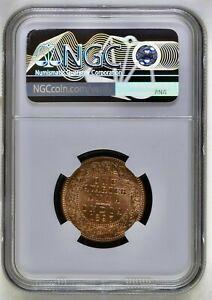 BRITISH INDIA 1897 (C) VICTORIA EMPRESS 1/4 ANNA NGC GRADED MS63 RARE COIN