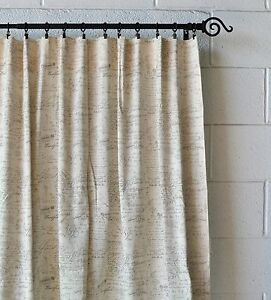 French Scripted Linen Designer Drapery Curtain Panels Two