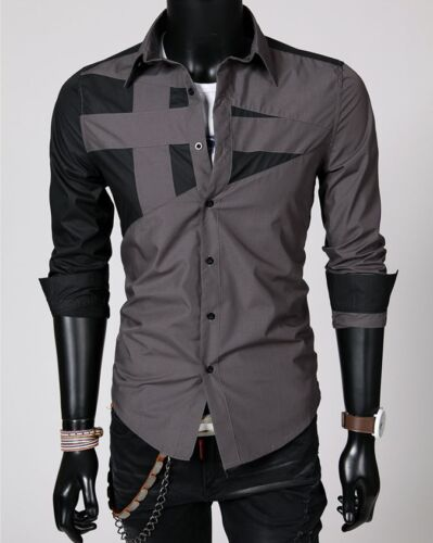 Mens Luxury Long Sleeve Formal Shirts Business Wedding Party Button T-shirt Tops