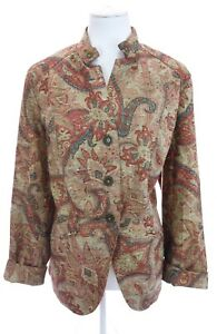 Coldwater-Creek-Paisley-Print-Woven-Tapestry-Style-Colorful-Blazer-Jacket-Sz-18W