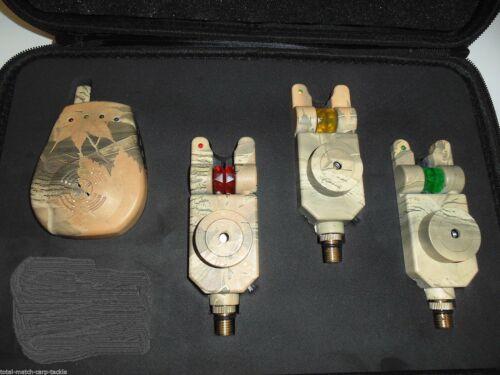 Mufflers Receiver LED Carp 3 x TMC Camo Mag Roller Bite Alarms Case