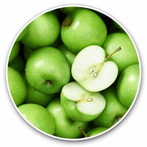 2-x-Vinyl-Stickers-7-5cm-Green-Healthy-Apple-Fruit-Healthy-Cool-Gift-21651