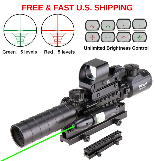 RIFLE SCOPE 4 in 1 Tactical 3-9x32 Red Green Mil-Dot Reflex Laser MOUNT &  RINGS