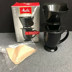 Melitta Single Cup Coffeemaker Pour Over W Black Brewing Cone