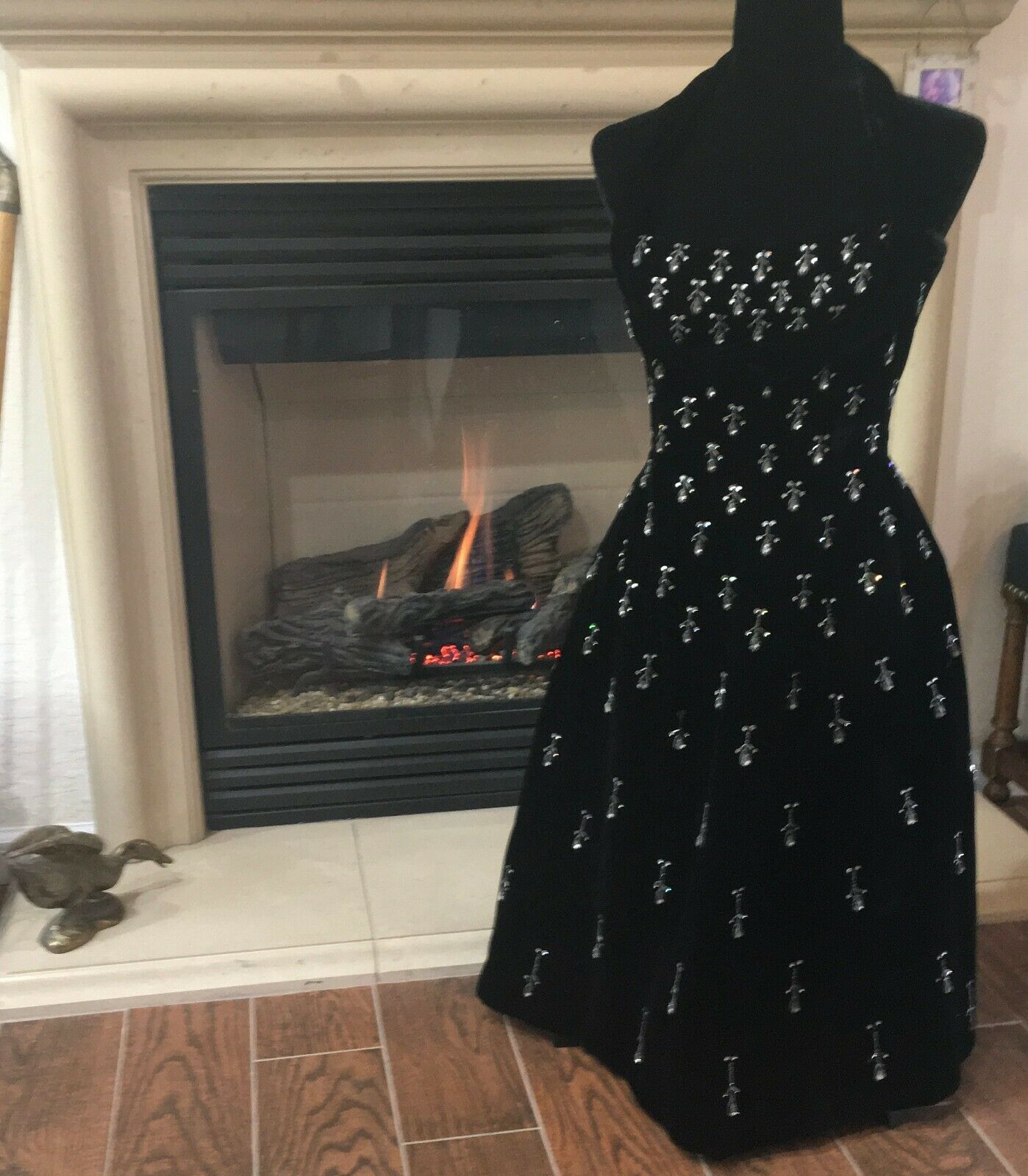Vintage black velvet Ceil Chapman evening dress - image 3