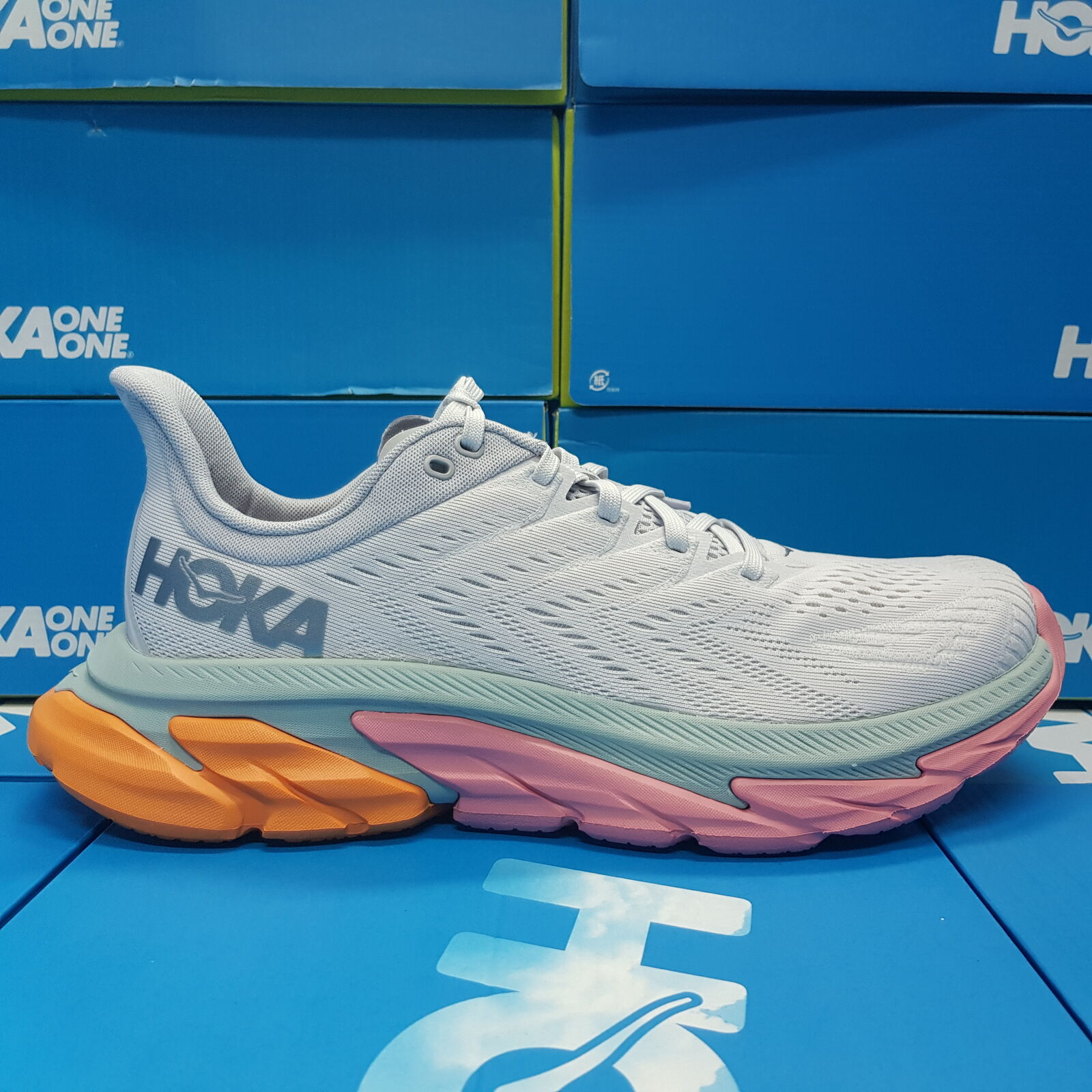 NEW Hoka One One Clifton EDGE 1110510/NCLR Orange/White/Light Blue Running Shoes