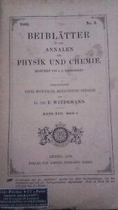 Rivista Beiblatter N° 3 Zu Den Annalen Der Physik Und Chemie 1889 Lipsia Verlag