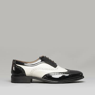 Mister Carlo BAGGIO II Mens Funky Gangster Semi Brogue Patent Shoes BlackWhite | eBay