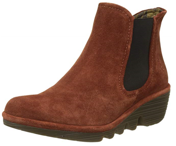 Fly London Women's Phil Chelsea Oil Suede Wedge Boots  Size UK 4 , EU 37 Brick