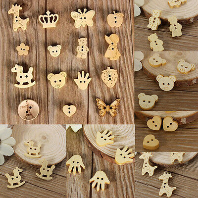 20/50pcs Cute Wood Wooden Buttons Beads Scrapbook Craft Sewing Embellishments