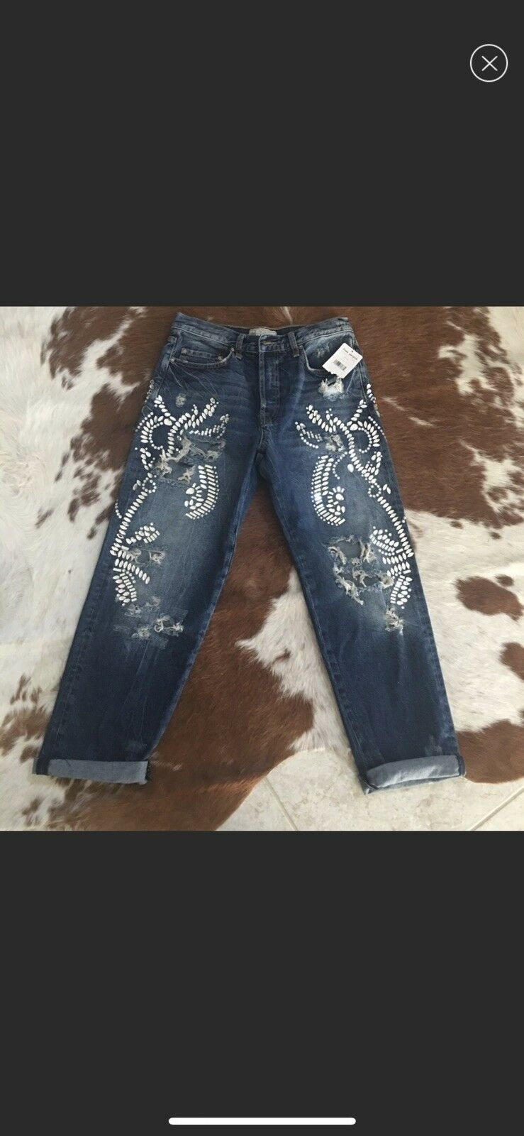Free People Embellished Ripped Jeans Item  OB715524  5413. Barcode  90383 61787