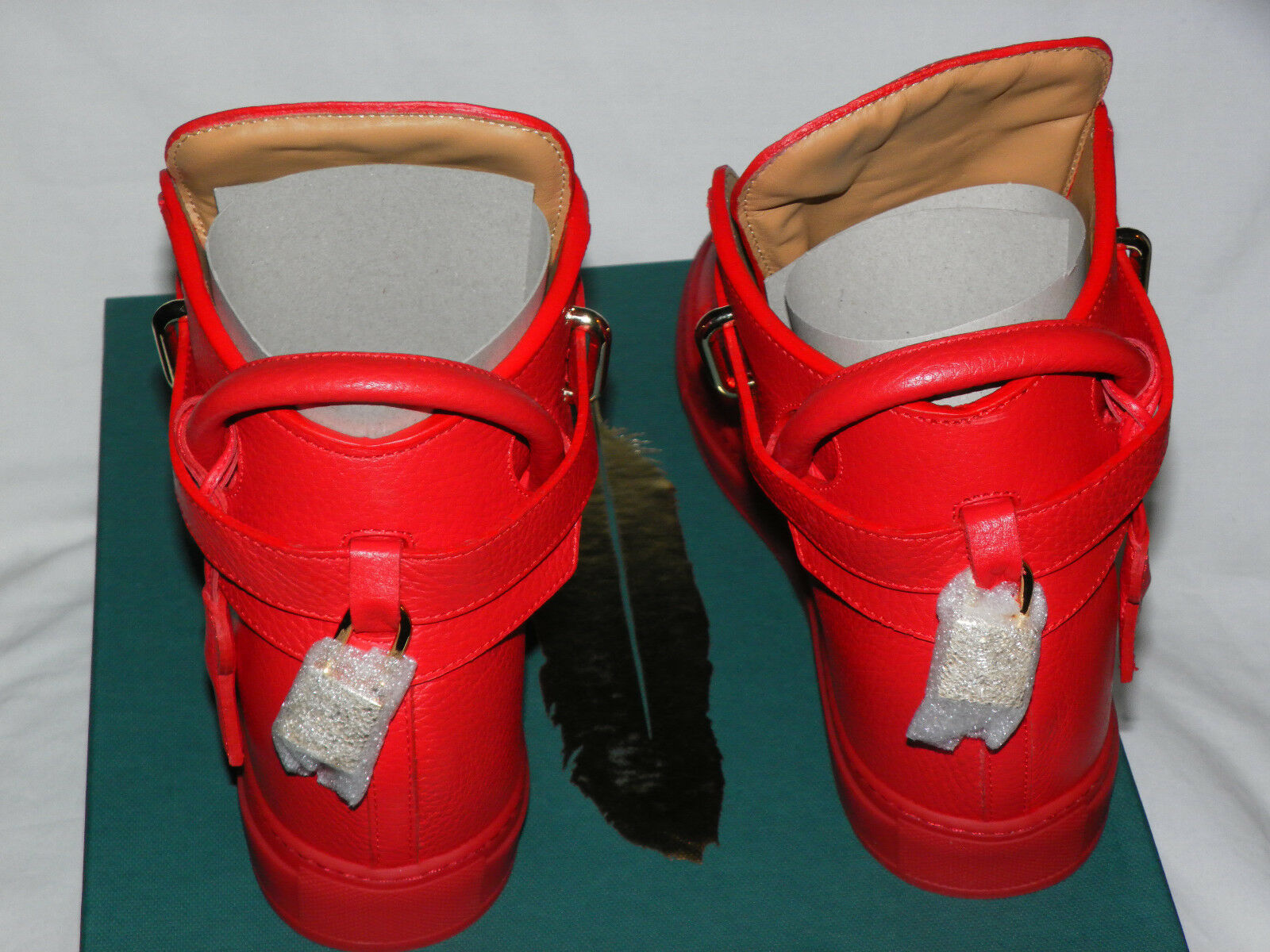BUSCEMI 100MM ALTA RED RED RED LEATHER WOMEN'S HIGH-TOP WEDGE SNEAKERS Sz. 38IT 8US 2fd818