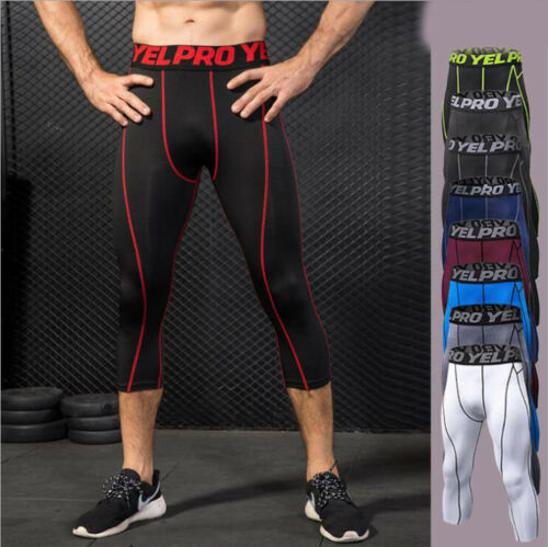 Mens Compression Capris Sports Leggings Fit Running Basketball 3//4 Pants Tight