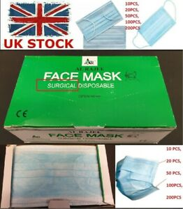 50-100-PCs-CE-CERTIFIED-3PLY-DISPOSABLE-MEDICAL-SURGICAL-DENTAL-FLU-FACE-MASK-UK
