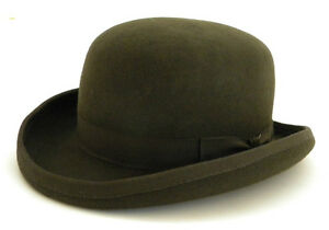 New Mens Wool Felt Olive Green Bowler Derby Hat Formal S M L XL  9ec5d5723a0c