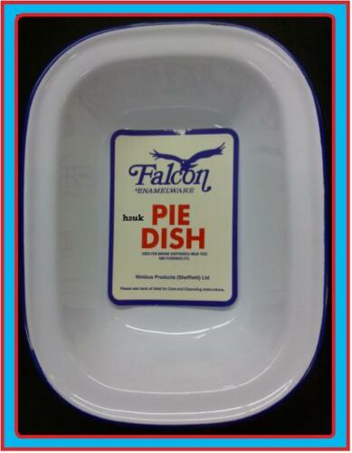 30cm Falcon steak ashet tarte cuisson Bake Oven plat étain émail oblongue blue & white